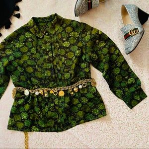 Vtg 50s Fall Floral Button Down Blouse S M